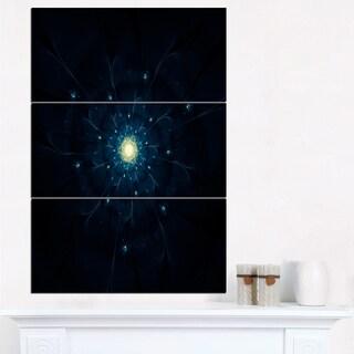 Glowing Fractal Flower Blue on Black - Floral Canvas Artwork Print