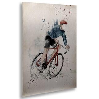 Balazs Solti 'I Want To Ride My Bicycle' Floating Brushed Aluminum Art