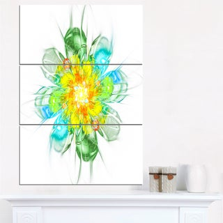 Yellow Blue Glowing Fractal Flower - Floral Canvas Artwork Print
