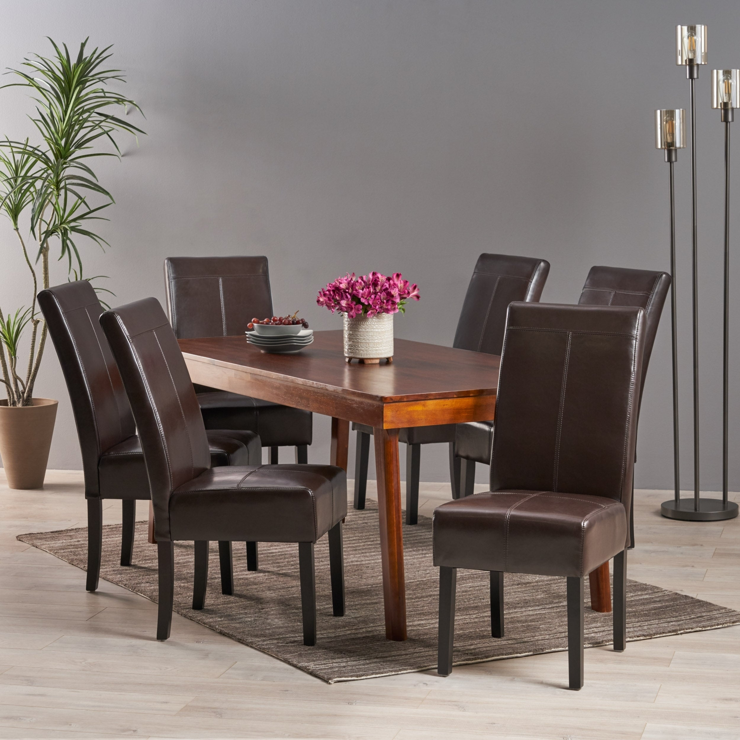 T Stitch Chocolate Brown Bonded Leather Dining Chair Set Of 6 By Christopher Knight Home On Sale Overstock 12304691