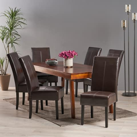 T-stitch Chocolate Brown Bonded Leather Dining Chair (Set of 6) by Christopher Knight Home