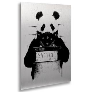 Balazs Solti 'Bad Panda' Floating Brushed Aluminum Art