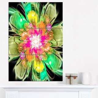 Green Fractal Flower Petals Close-up - Floral Canvas Artwork Print