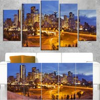 Skyline of Calgary at Night Panorama - Modern Cityscape Canvas Wall Art - Multi-color