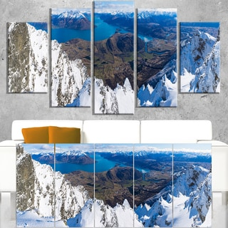 Frankton and Lake Aerial View Panorama - Landscape Art Canvas Print