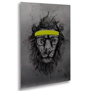 Balazs Solti 'Hipster Lion' Floating Brushed Aluminum Art