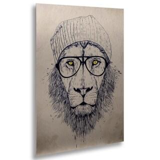 Balazs Solti 'Cool Lion' Floating Brushed Aluminum Art