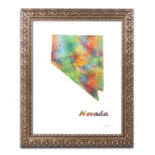 Marlene Watson 'Nebraska State Map-1' Ornate Framed Art