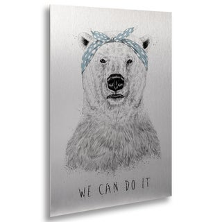 Balazs Solti 'We Can Do It' Floating Brushed Aluminum Art