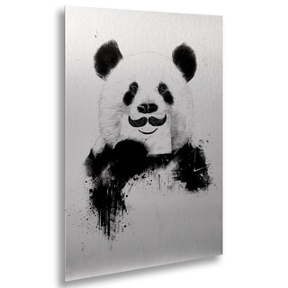 Balazs Solti 'Funny Panda' Floating Brushed Aluminum Art
