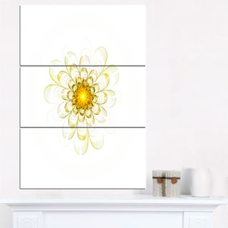 Glowing Yellow Fractal Flower Digital Art - Floral Canvas Artwork Print