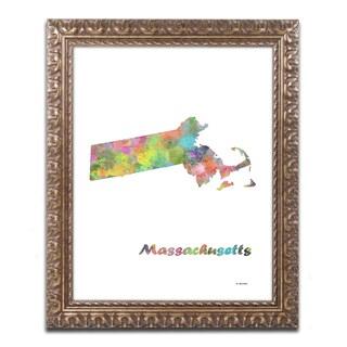 Marlene Watson 'Massachusetts State Map-1' Ornate Framed Art
