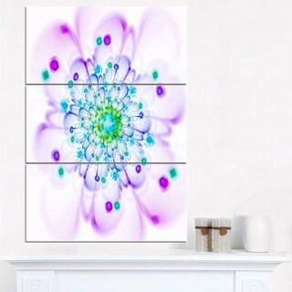 Simple Purple Blue Fractal Flower - Floral Canvas Artwork Print