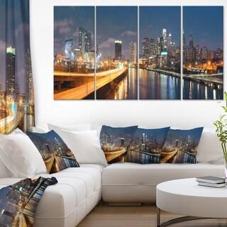Philadelphia Skyline at Night - Cityscape Canvas print - Multi-color