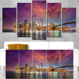 New York Manhattan Skyline with Clouds - Cityscape Canvas print