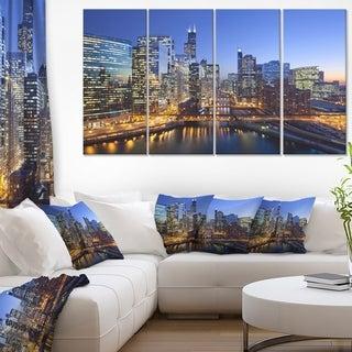 Chicago River with Bridges at Sunset - Cityscape Canvas print - Multi-color