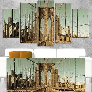 Manhattan Bridge in New York Brown - Cityscape Canvas print