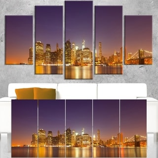 Illuminated NYC Downtown Buildings  - Cityscape Canvas print