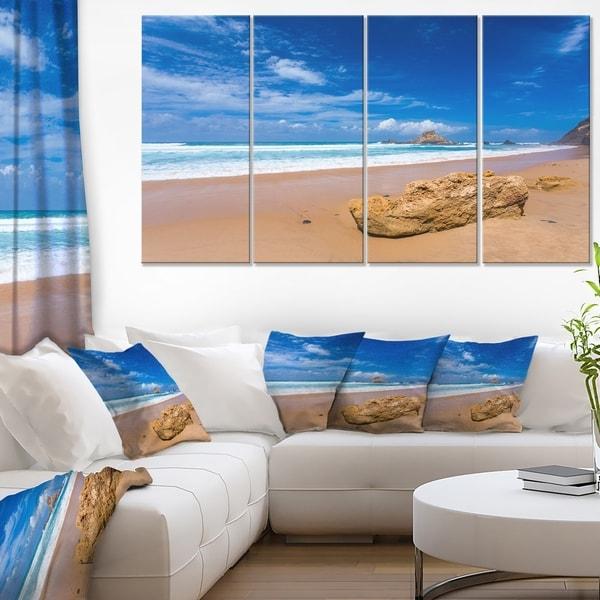 Huge Brown Rock in Atlantic Seashore - Seashore Canvas Wall Art
