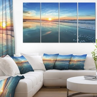 Blue Seashore with Distant Sunset - Seashore Canvas Wall Art