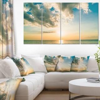 Clouds Together Over Blue Seashore - Seashore Canvas Wall Art