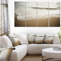White Waves in Mediterranean Sea - Contemporary Seascape Art Canvas