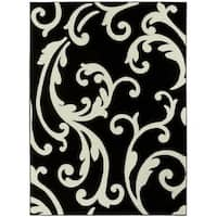 LYKE Home Contemporary Print Black Olefin Area Rug - 5'3 x 7'2