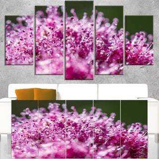 Pink Little Flowers Close-up View - Large Floral Wall Art Canvas