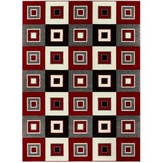LYKE Home Contemporary Geometric Olefin Red Area Rug (8' x 11') - 7'9 x 10'6