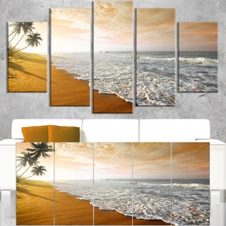 Wavy Clouds over Seashore - Extra Large Seascape Art Canvas