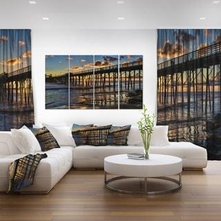 Pacific Ocean Sunset Oceanside Pier - Modern Seascape Canvas Artwork