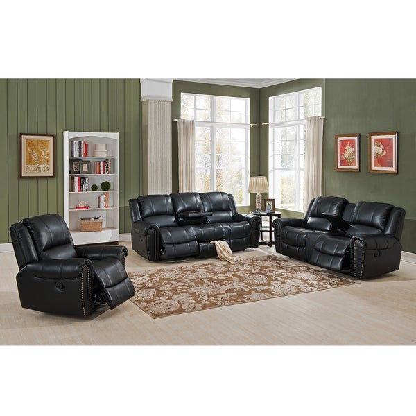 Shop Houston Leather Reclining Sofa, Loveseat And Chair