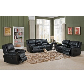 Houston Top Grain Leather Reclining Sofa/ Loveseat/ Chair Set with USB Ports and Storage Drawer