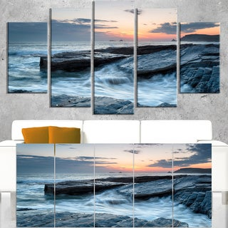 Sunset and Waves at Booby's Bay - Beach Canvas Wall Art