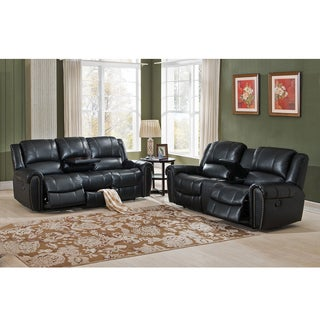 Houston Top Grain Leather Reclining Sofa and Loveseat Set with USB Ports