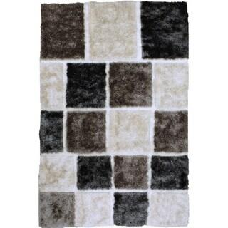 LYKE Home High Density Lush Pile White Shag Area Rug (8' x 11')