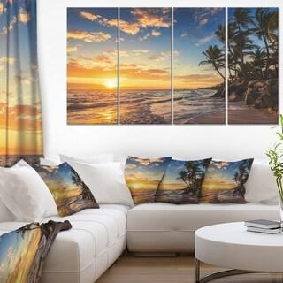 Paradise Tropical Island Beach with Palms - Extra Large Seascape Art Canvas