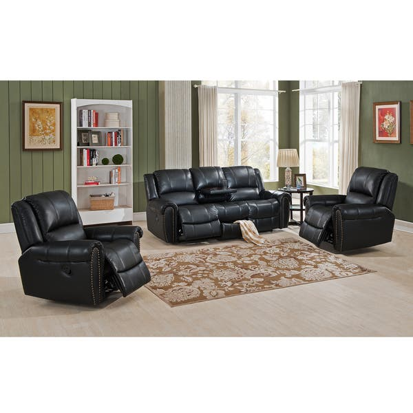 Shop Houston Top Grain Leather Reclining Sofa and 2 Chairs ...