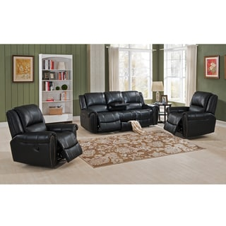 Houston Top Grain Leather Reclining Sofa and 2-chair Set with USB Ports