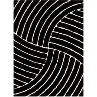 "LYKE Home Jumbo Thick  Black Shag Area Rug (8' x 11') - 7'7"" x 10'5"""