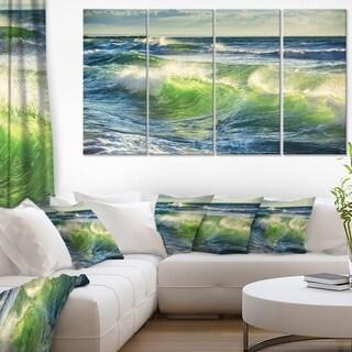 Sunrise and Shining Waves in Ocean - Beach Canvas Wall Art