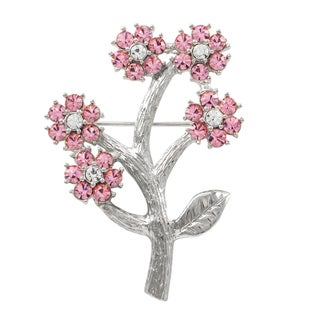 Luxiro Rhodium Finish Pink Crystals Flower Pin Brooch