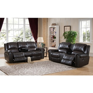 Charlotte Top Grain Leather Reclining Sofa and Loveseat Set with USB Ports and Storage Drawer
