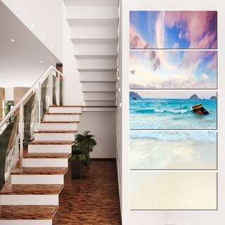 Exotic Seashore Sunset Over Blue Sea - Extra Large Seascape Art Canvas
