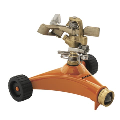 Dramm 10-15032 Orange Impulse Sprinkler With Heavy Duty Metal Wheeled Base