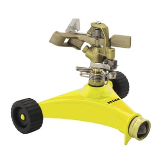 Dramm 10-15033 Yellow Impulse Sprinkler With Heavy Duty Metal Wheeled Base