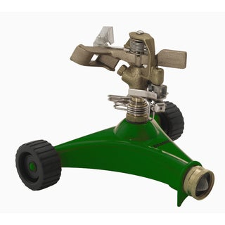 Dramm 10-15034 Green Impulse Sprinkler With Heavy Duty Metal Wheeled Base