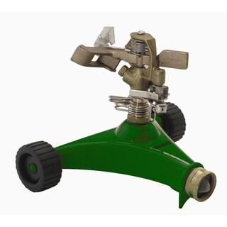Dramm 10-15034 Green Impulse Sprinkler With Heavy Duty Metal Wheeled Base