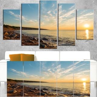 Ocean Shore at Sunrise with Rocks - Modern Seascape Canvas Artwork