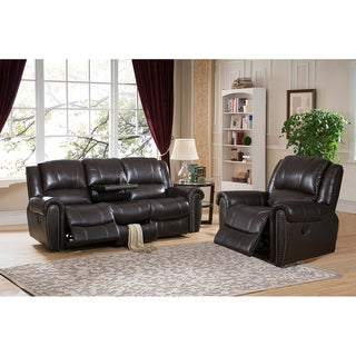 Charlotte Top Grain Leather Reclining Sofa and Chair Set with USB Ports and Storage Drawer